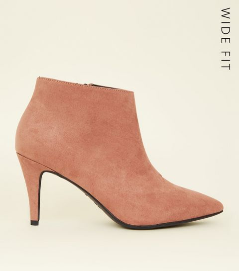 b9112c9cb40 ... Wide Fit Pink Suedette Pointed Stiletto Shoe Boots ...
