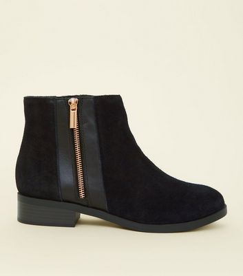 Wide Fit Black Suede Zip Side Ankle Boots