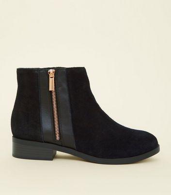 Wide Fit Black Suede Zip Side Ankle