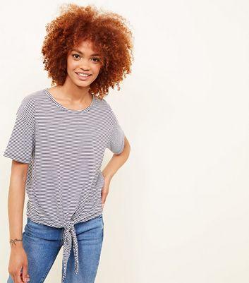 33991b5da6 Shoptagr | White Stripe Tie Front T Shirt by New Look
