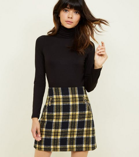 f04471dd2b3 ... Blue Vanilla Yellow Check Mini Skirt ...