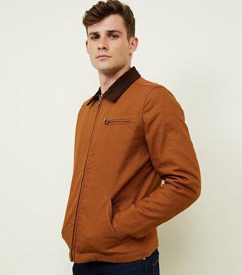 Tan Corduroy Collar Trucker Jacket New Look