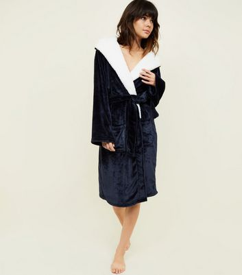Navy Hooded Borg Dressing Gown
