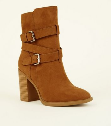 Wide Fit Tan Suedette Buckle High Leg Boots
