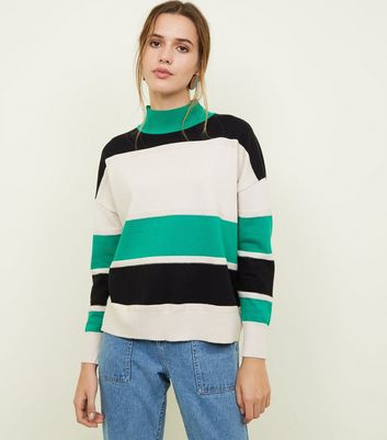 Blue Vanilla Green Striped High Neck Jumper