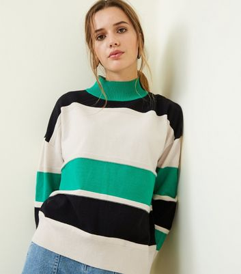 Blue Vanilla Green Striped High Neck Jumper New Look
