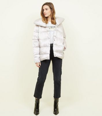 blue vanilla silver quilted puffer jacket new look