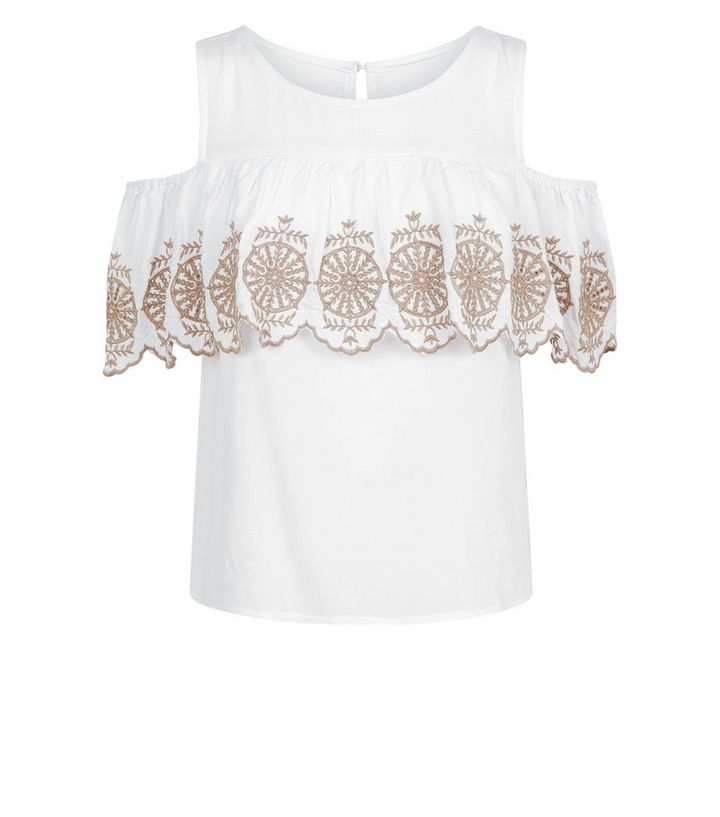 9205b124b0d9cc ... Apricot White Frill Embroidered Cold Shoulder Top. ×. ×. ×. Shop the  look