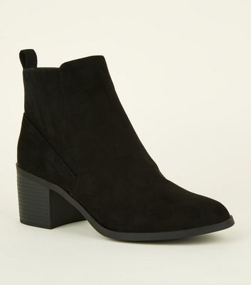 Girls Black Suedette Ankle Boots   New Look