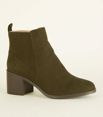 Girls Khaki Suedette Ankle Boots