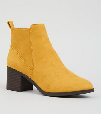 Girls Mustard Suedette Ankle Boots