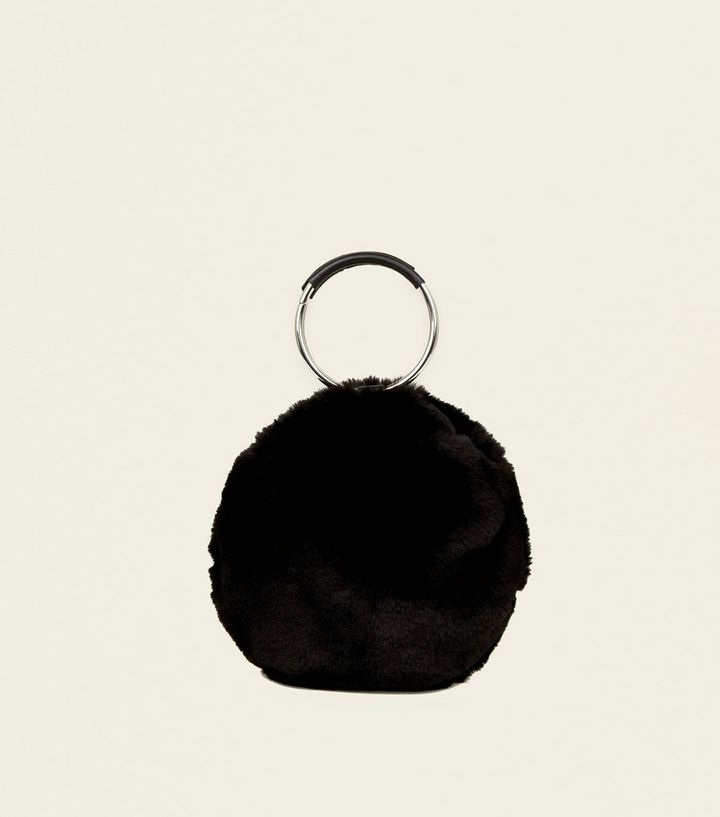 Black Faux Fur Circle Handle Cross Body Bag  5c4b14b3debaa