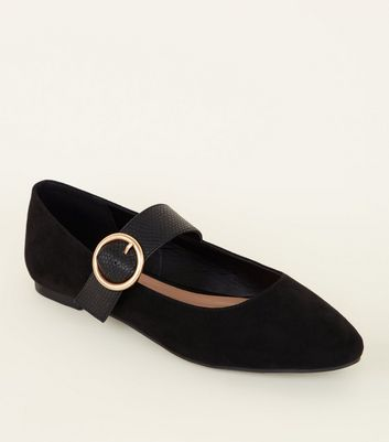 Girls Black Suedette Ring Buckle Strap Ballet Pumps