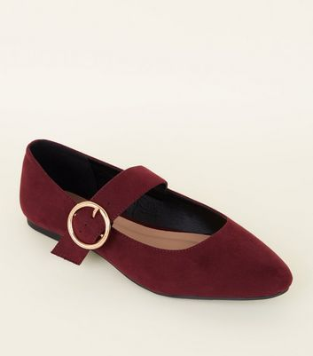 Girls Dark Red Suedette Ring Buckle Strap Ballet Pumps