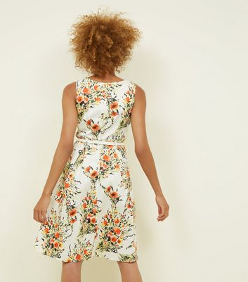 Apricot Cream Floral Belted Dress New Look