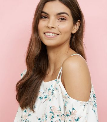 Apricot Cream Floral Asymmetric Shoulder Top New Look