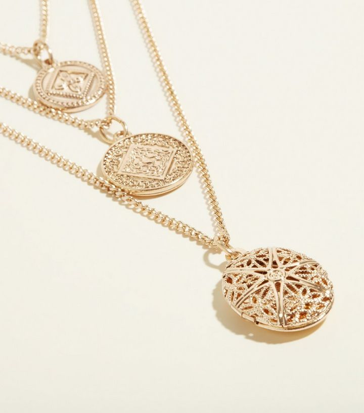 Gold layered locket pendant necklace new look shop the look aloadofball Image collections