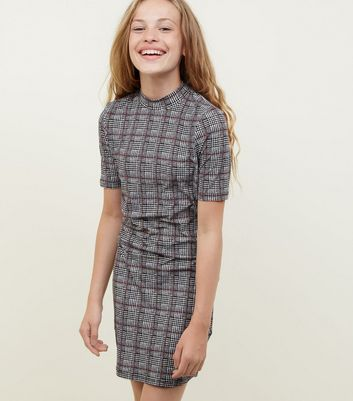 Girls Black Check Soft Touch Bodycon Dress