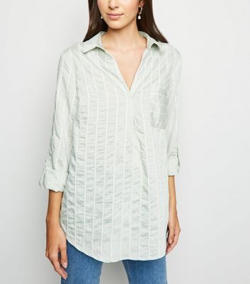 Mint Green Stripe Overhead Shirt