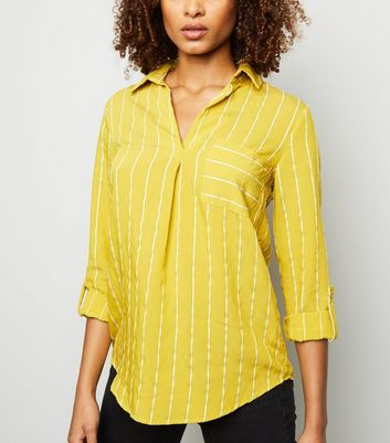 Yellow Jacquard Stripe Overhead Shirt