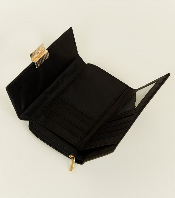 Black Leather-Look Push Lock Purse  a0f285608943