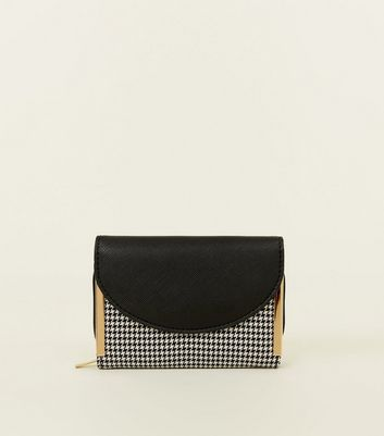 Black Houndstooth Metal Trim Small Purse