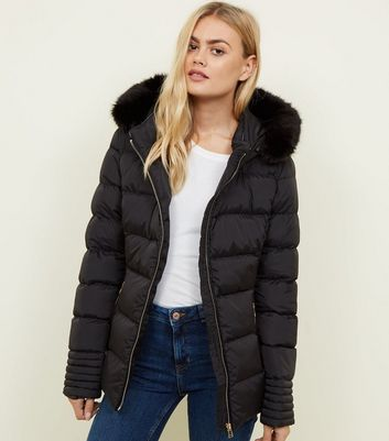 Blue Vanilla Black Faux Fur Hooded Puffer Jacket