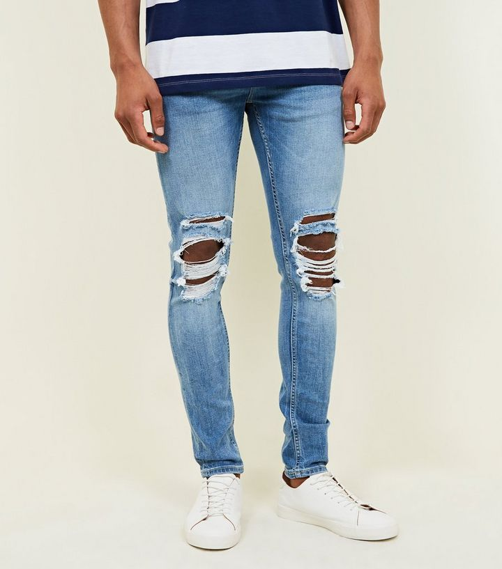 d8088ddf399 Pale Blue Ripped Knee Stretch Super Skinny Jeans | New Look