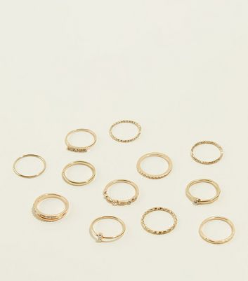 12 Pack Gold Diamanté Stacking Rings New Look