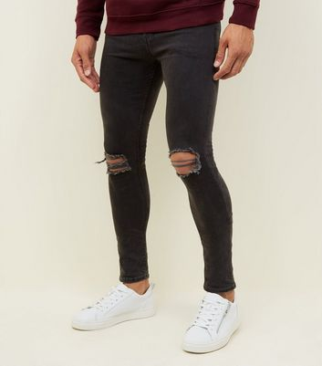 Black Washed Ripped Knee Super SkinnyJeans