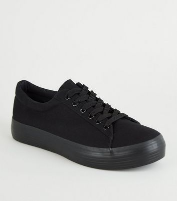 Black Canvas Lace Up Flatform Trainers
