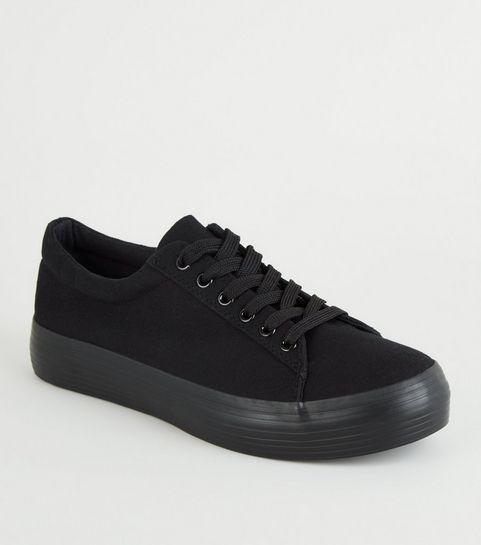 3d2d6b4a212139 ... Black Canvas Lace Up Flatform Trainers ...
