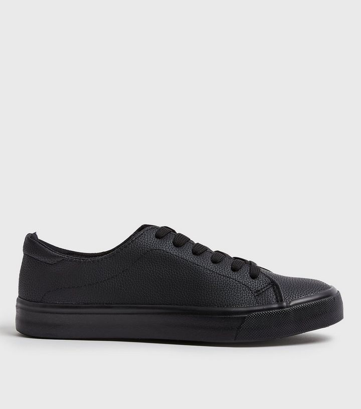 e59324558806 Black Leather-Look Lace Up Trainers