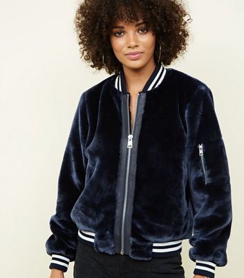 Navy Faux Fur Ribbed Trim Bomber Jacket