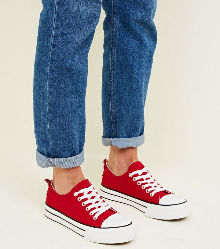 huge discount 8f67e 0f16e Red Canvas Stripe Platform Sole Trainers Add to Saved Items Remove from  Saved Items