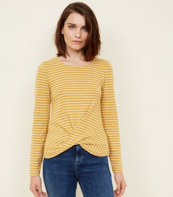 Yellow Stripe Brushed Twist Front Top
