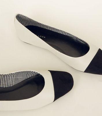 Cream Leather-Look Toe Cap Ballet Pumps New Look