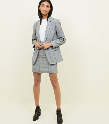Light Grey Check Mini Skirt