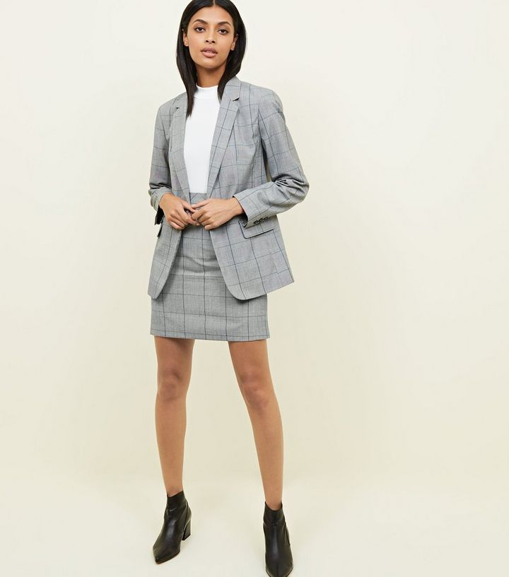 edc99beb38cb4 Light Grey Check Mini Skirt Add to Saved Items Remove from Saved Items