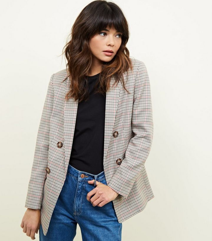 8f49357d Brown Check Double Breasted Blazer | New Look