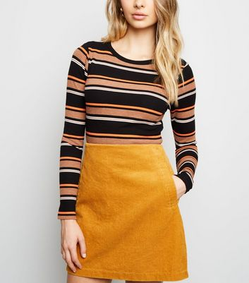 Mustard Yellow Corduroy Mini Skirt
