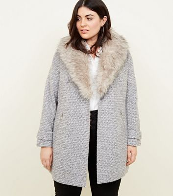 Curves Grey Faux Fur Collar Bouclé Coat