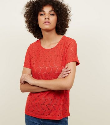 JDY Red Leaf Pointelle T-Shirt New Look