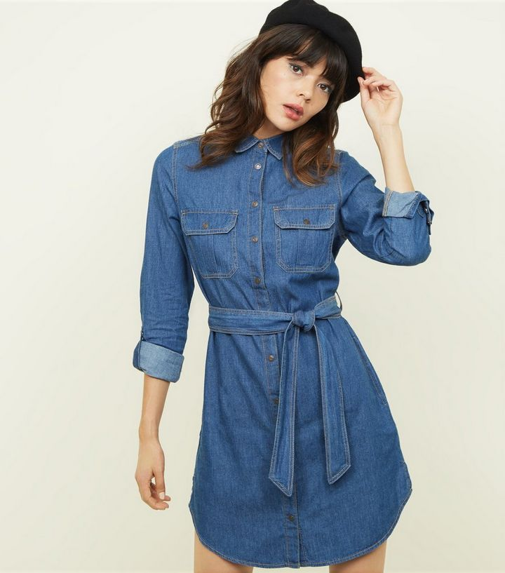 3f78a2e4c80e7 Blue Tie Waist Lightweight Denim Shirt Dress