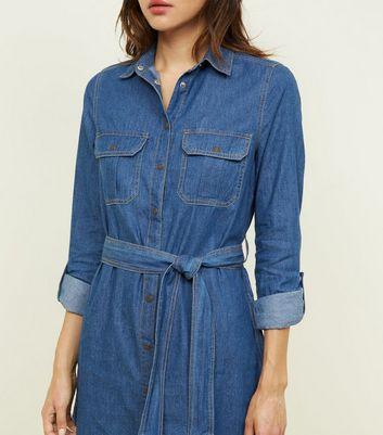 Blue Tie Waist Lightweight Denim Shirt Dress New Look