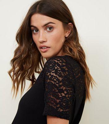 JDY Black Lace Sleeve T-Shirt New Look