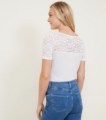 JDY White Lace Sleeve T-Shirt New Look
