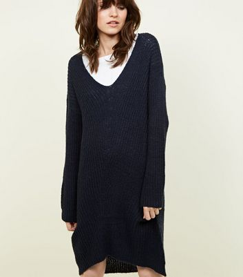 JDY Navy V Neck Knitted Dress