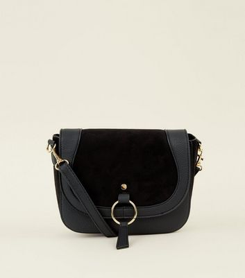 Black Leather-Look Ring Front Saddle Bag