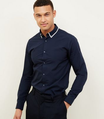 Navy Tipped White Collared Shirt
